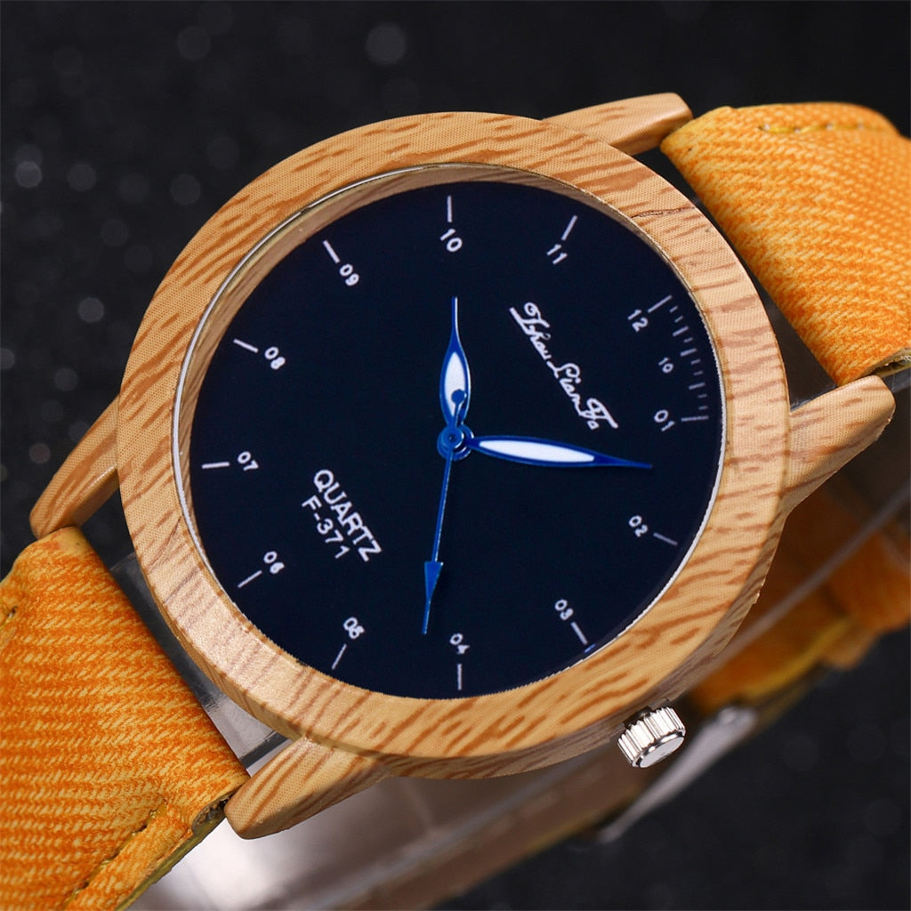 Fashion Retro Leather Band Wooden case Watch