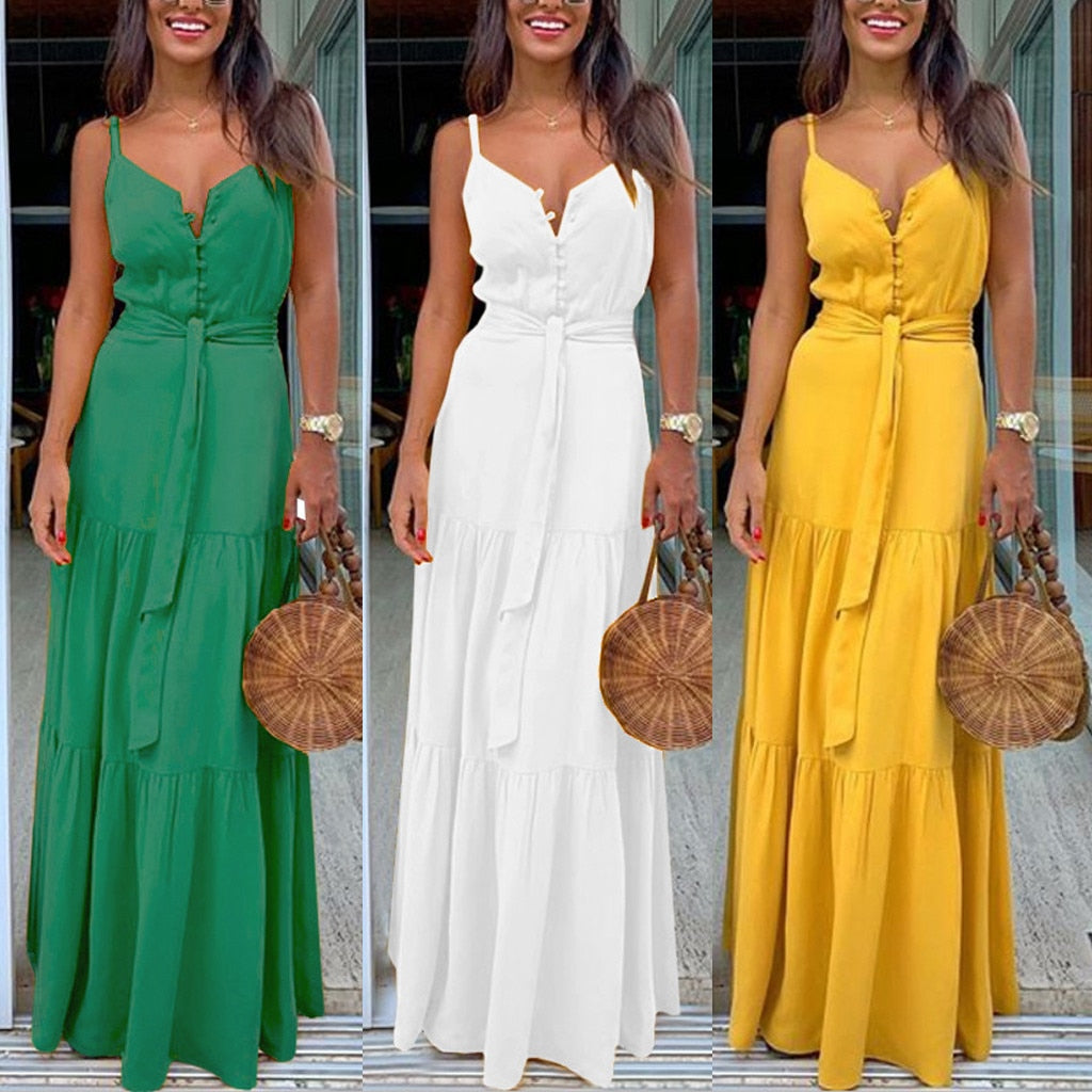 Boho Style Sleeveless Strappy Female Dresses