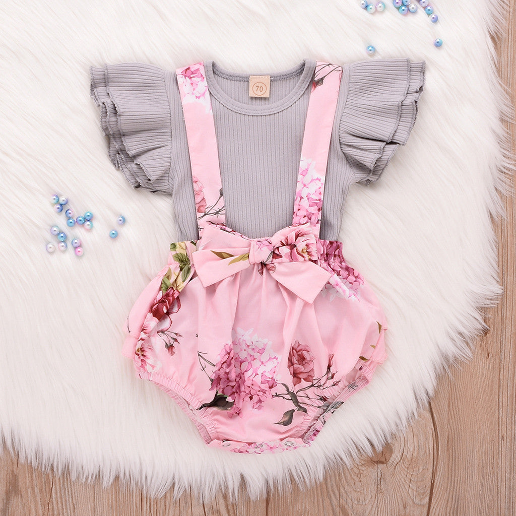 Infant Sleeveless Ruffle Tops Overall Floral Short Clothes Set