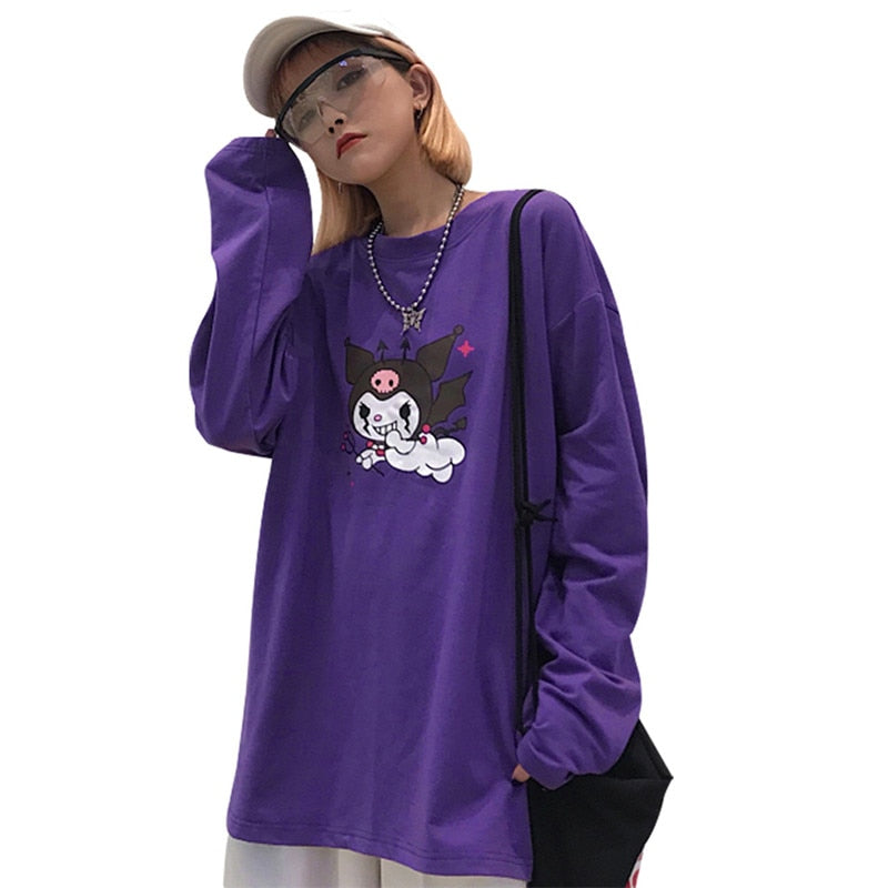 Devil Print Purple Women T shirt