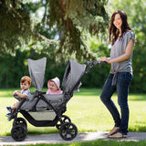 Foldable Double Baby Stroller Stand On Front & Back Seats