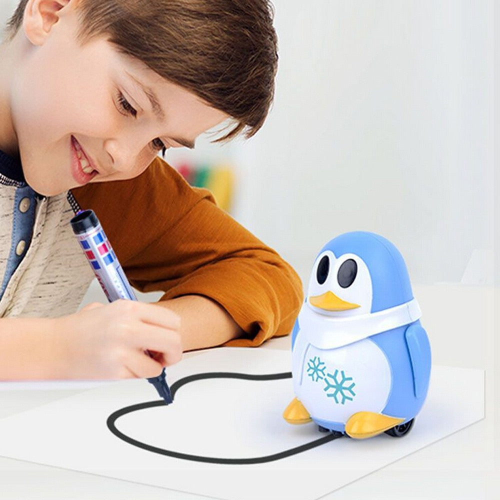 Follow Any Drawn Line Magic Pen Inductive Penguins Model Action Figures Model Collection Toys