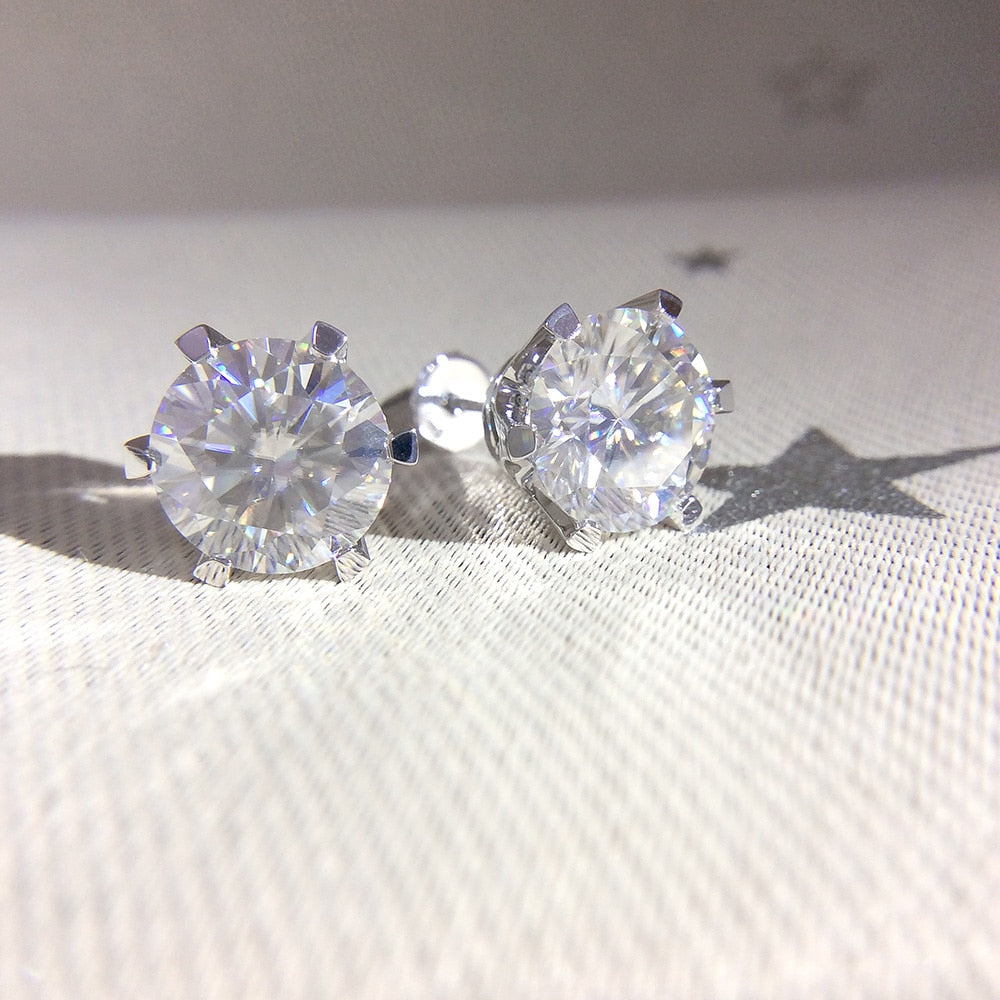 18K Plated Sterling Silver Round Cut Moissanite Diamond Earrings