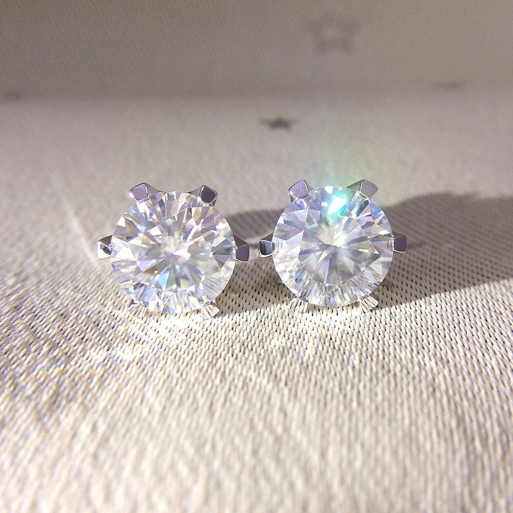 Round Cut Moissanite Diamond Earrings