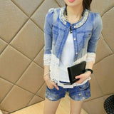 Casual Lace Half Sleeve Denim Women's Jacket