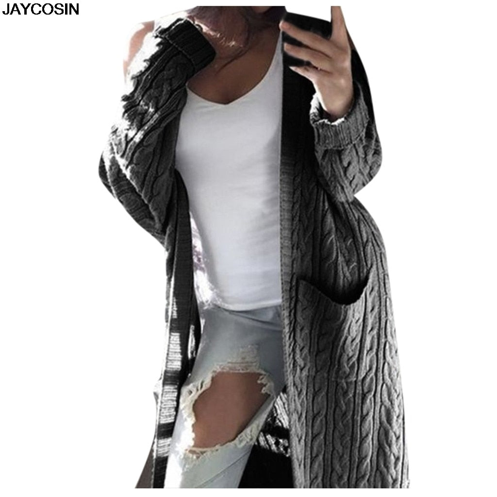 Women Long Sleeve Hooded Solid Knitted Cardigan