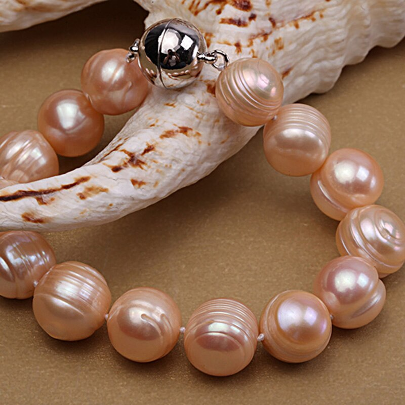 Pink Round natural Freshwater Pearl Necklace and Bracelet Set
