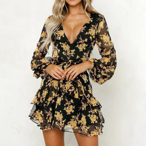 Women Floral Leaf Printed Lantern Sleeve Empire Dress