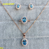 Natural topaz ring pendant earrings jewelry sets