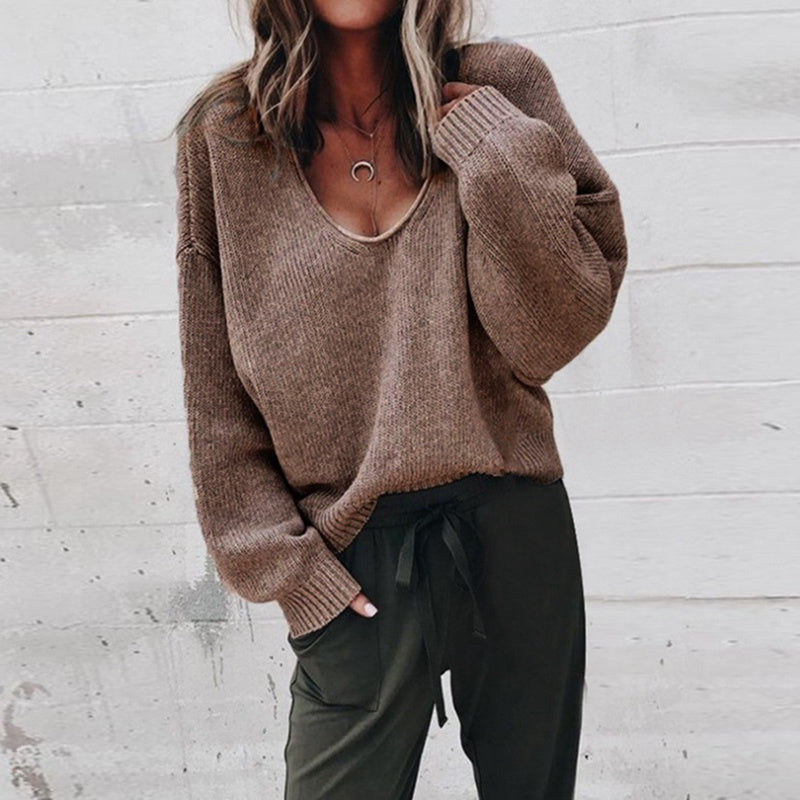 V Neck Long Sleeve Pullovers  Sweater