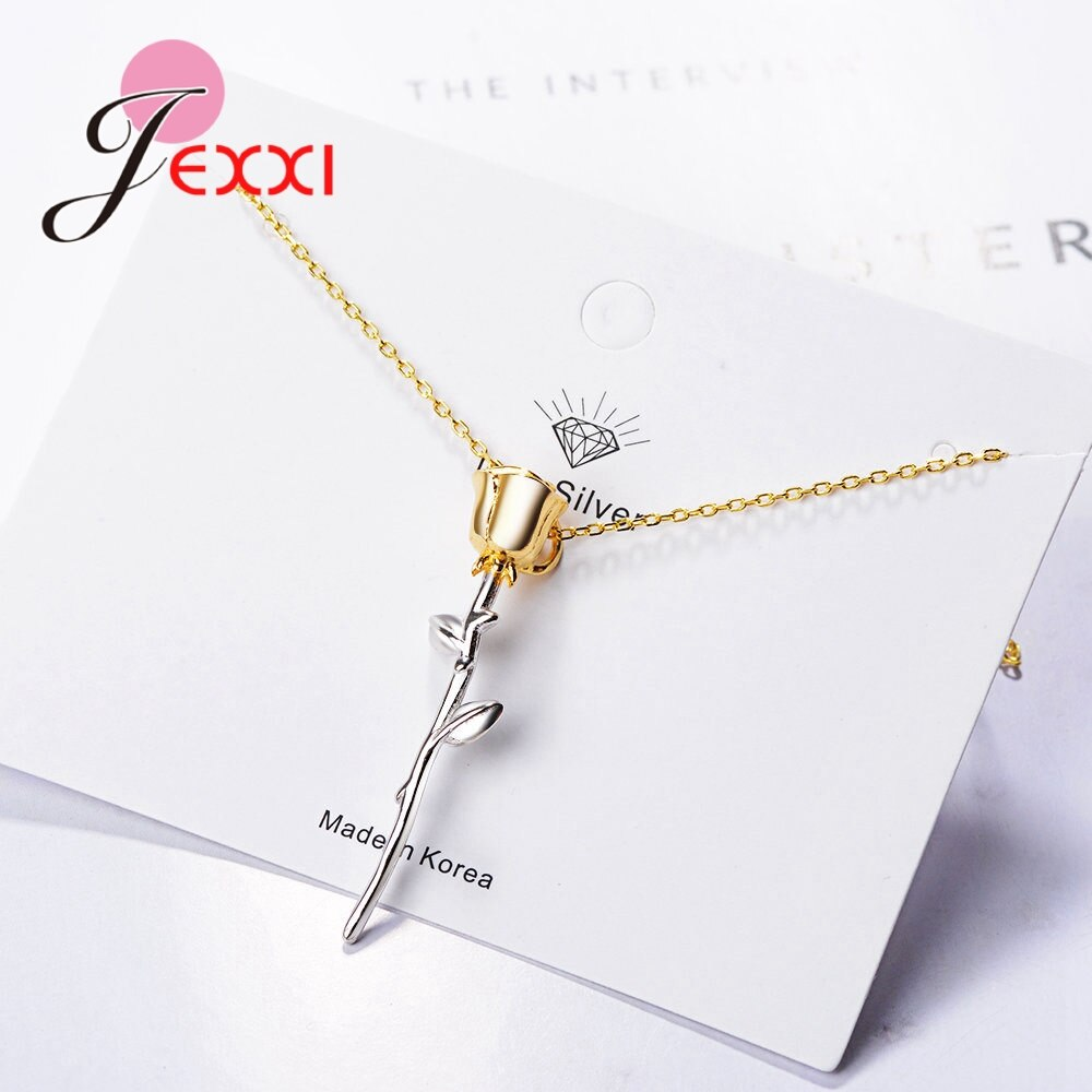 Latest Model Attractive Beautiful Rose Flower 925 Sterling Silver Gold Pendant   Necklace For Women Engagement Jewelry