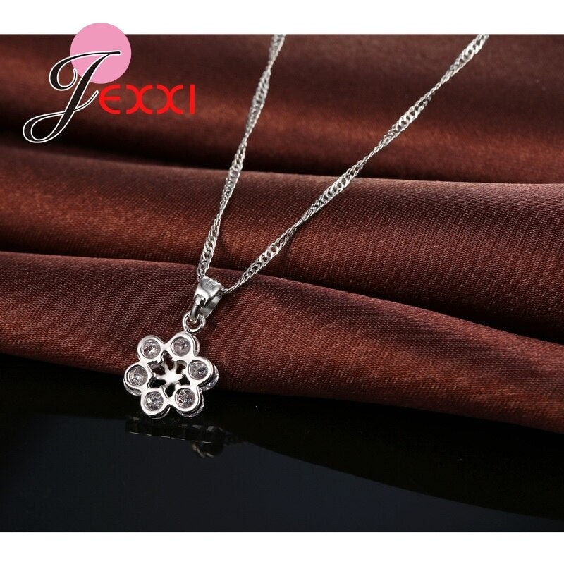 Lovely 925 Sterling Silver Jewelry Sets Cubic Zircoina CZ Crystal  Rose Flower Necklace Brincos Earrings Collar Bijoux