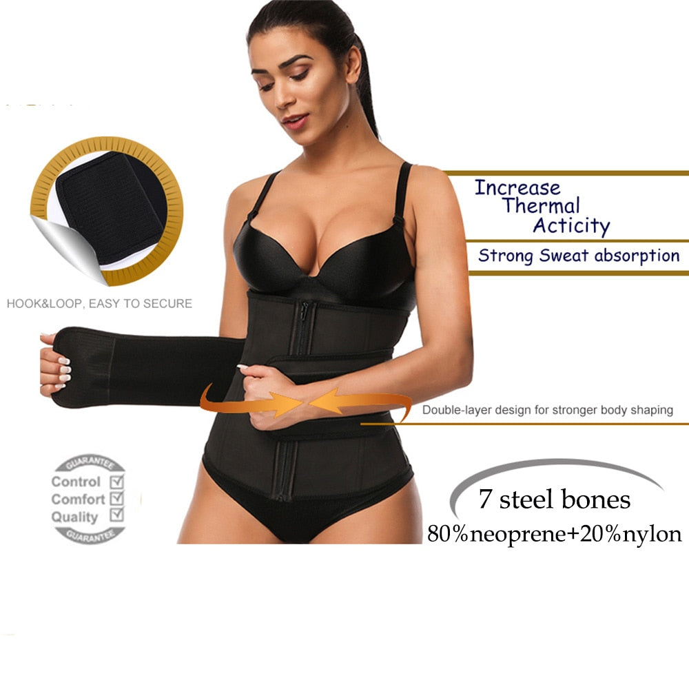 Lover Beauty Abdominal Belt High Compression Zipper Sweat Waist Trainer