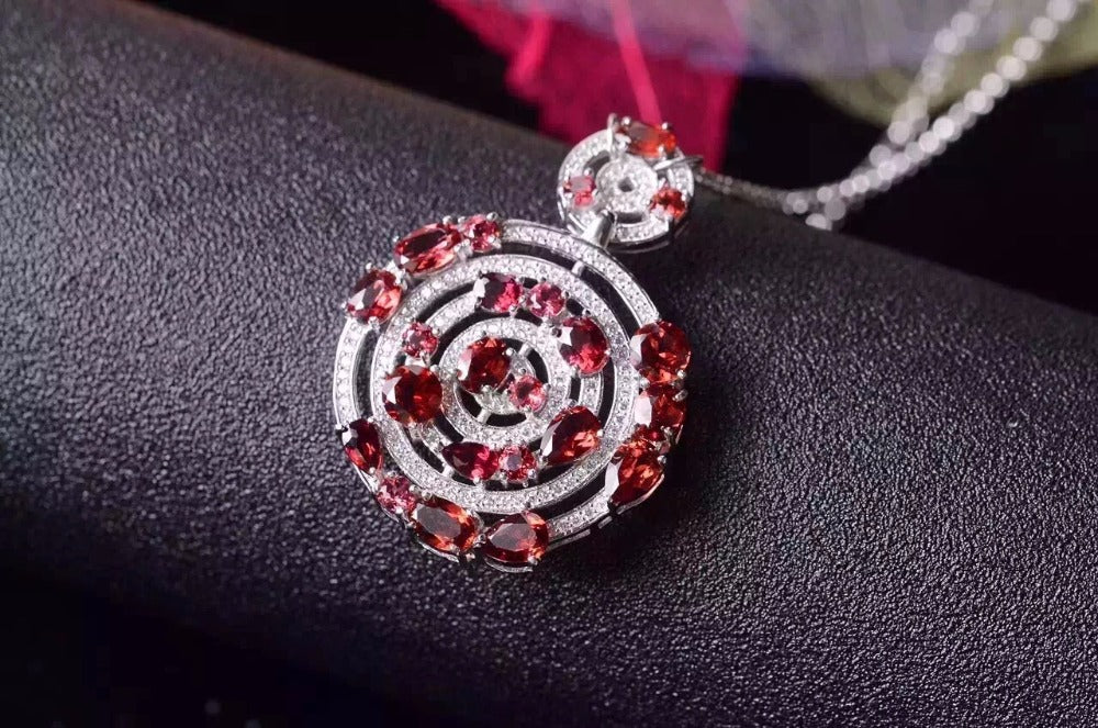 Luxurious Red Garnet Circle Necklace for Women