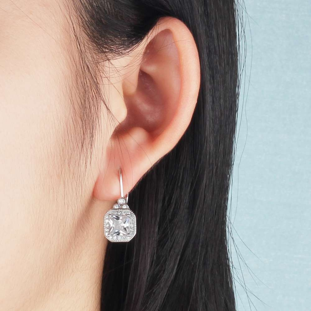 Luxury Full Cubic Zirconia Paved Hoop Earrings For Women