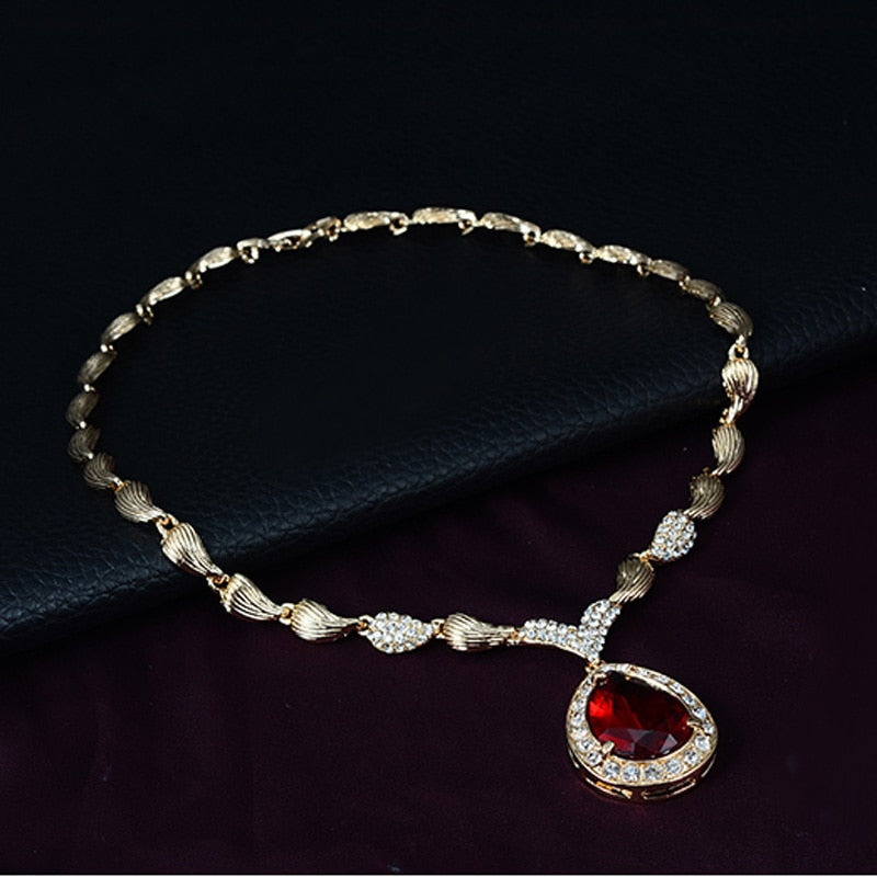 Luxury Golden Red crystal Fashion jewelry set  For Women