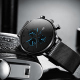Luxury Men Casual Slim Mesh Steel Waterproof Watch