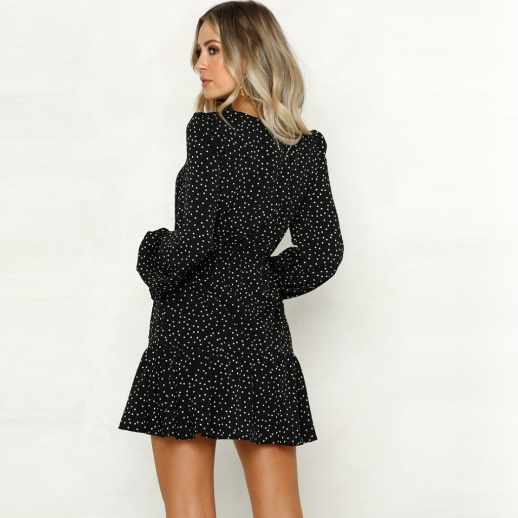Women Polka Dot Print Ruffles Open Fork Mini Dress