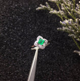 Natural Emerald Flower Rings