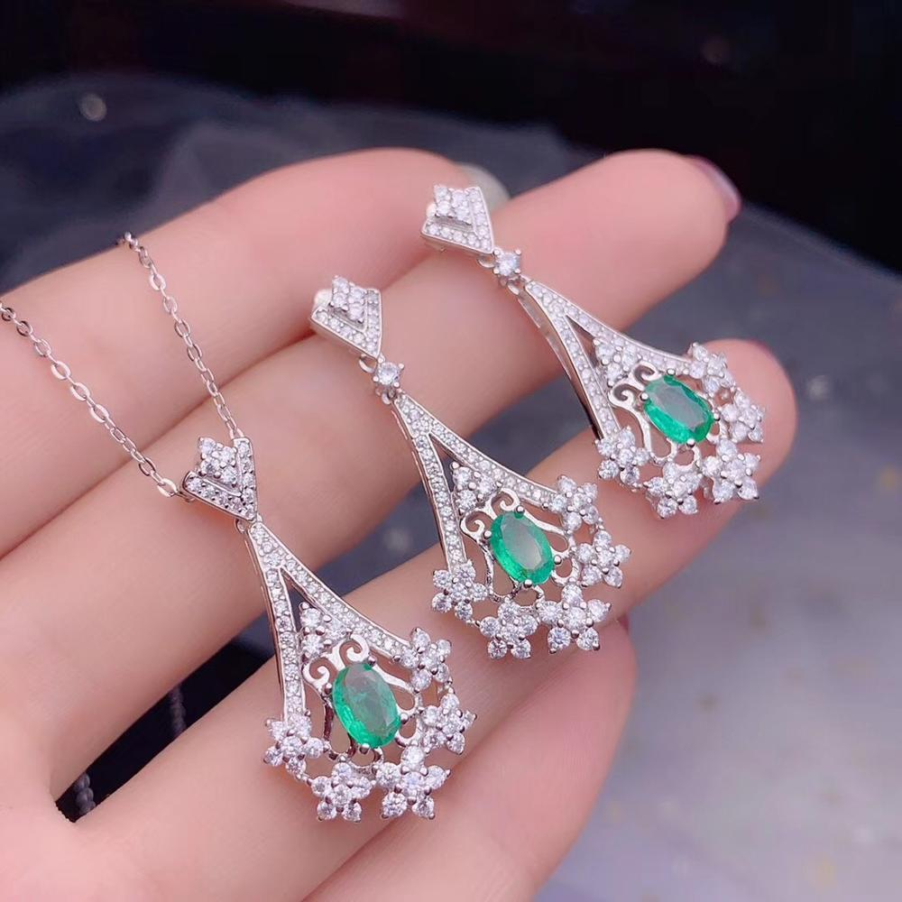 Natural Green Emerald Pendant Necklace Earrings set for Women