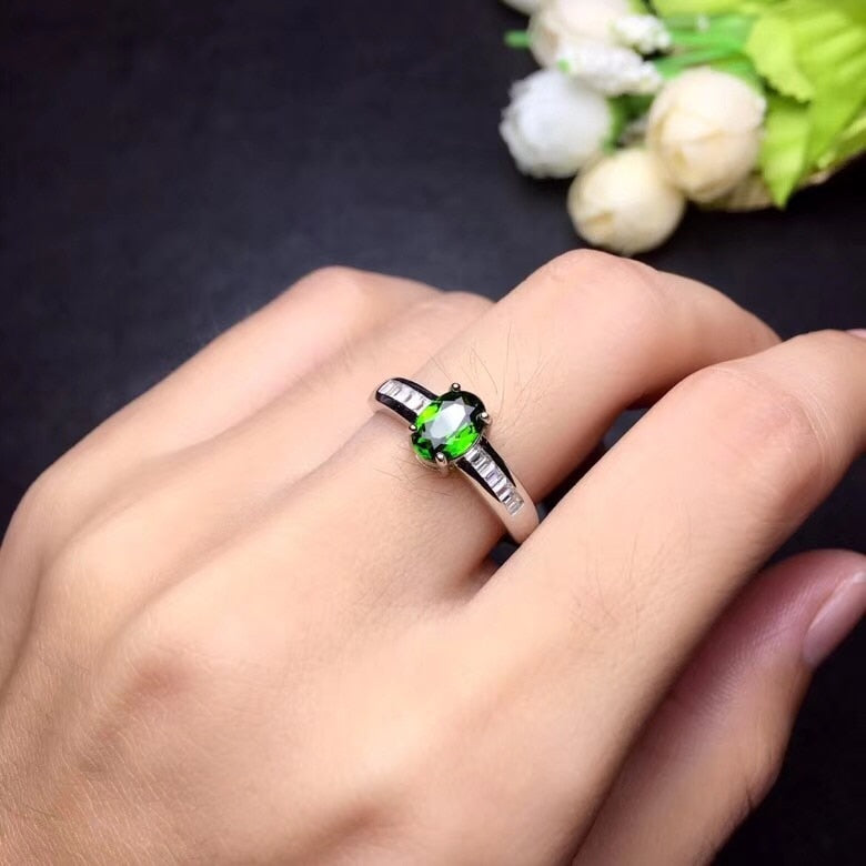 925 Sterling Silver Natural Tested Diopside Rings for Women