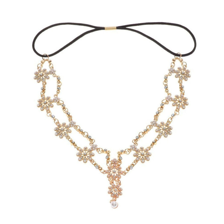 Lady Luxury Pearl Flower Tassel Hair Chain