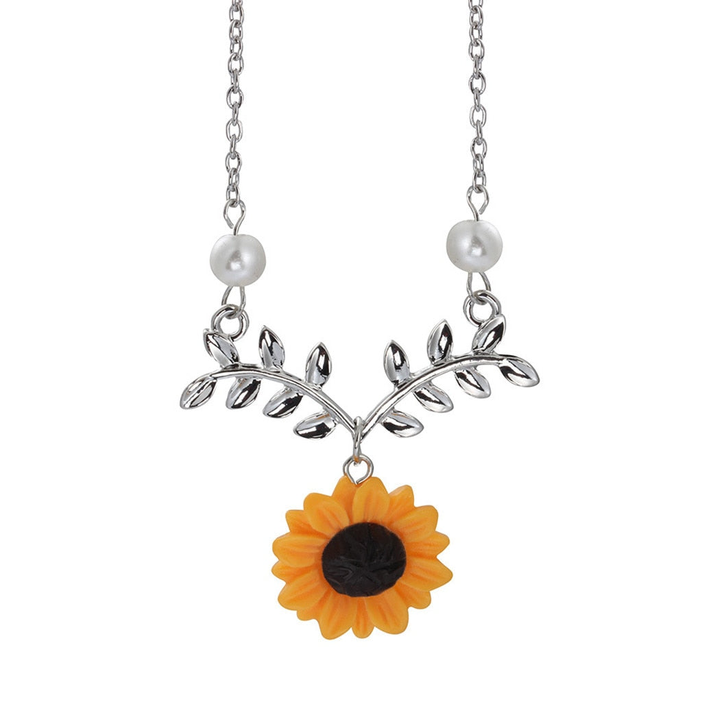 Sunflower Leaves Four Piece Bracelet Earrings Ring Necklace Jewelry Sets
