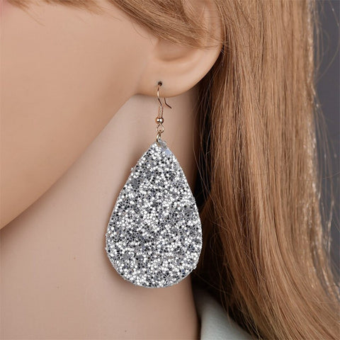 Retro  Leather Full Of Diamonds Sequins Earrings