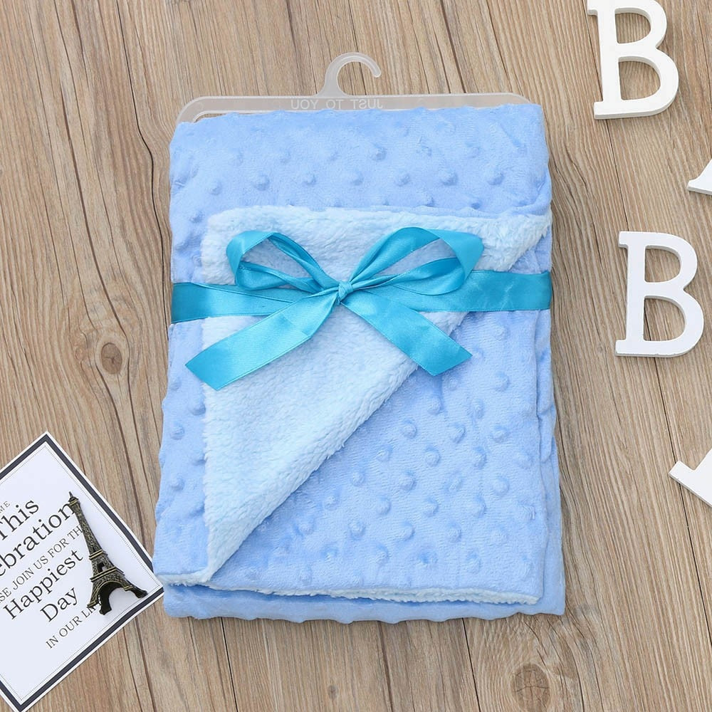 Newborn Baby Blanket Warm Fleece Stroller Cover Quilt Swaddling Bedding