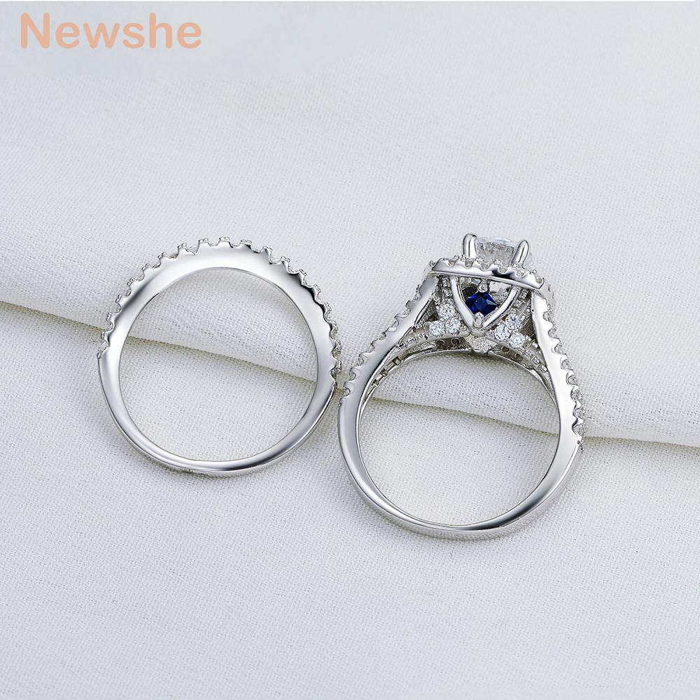 2 Pcs Solid 925 Sterling Silver Women's Wedding Ring Sets