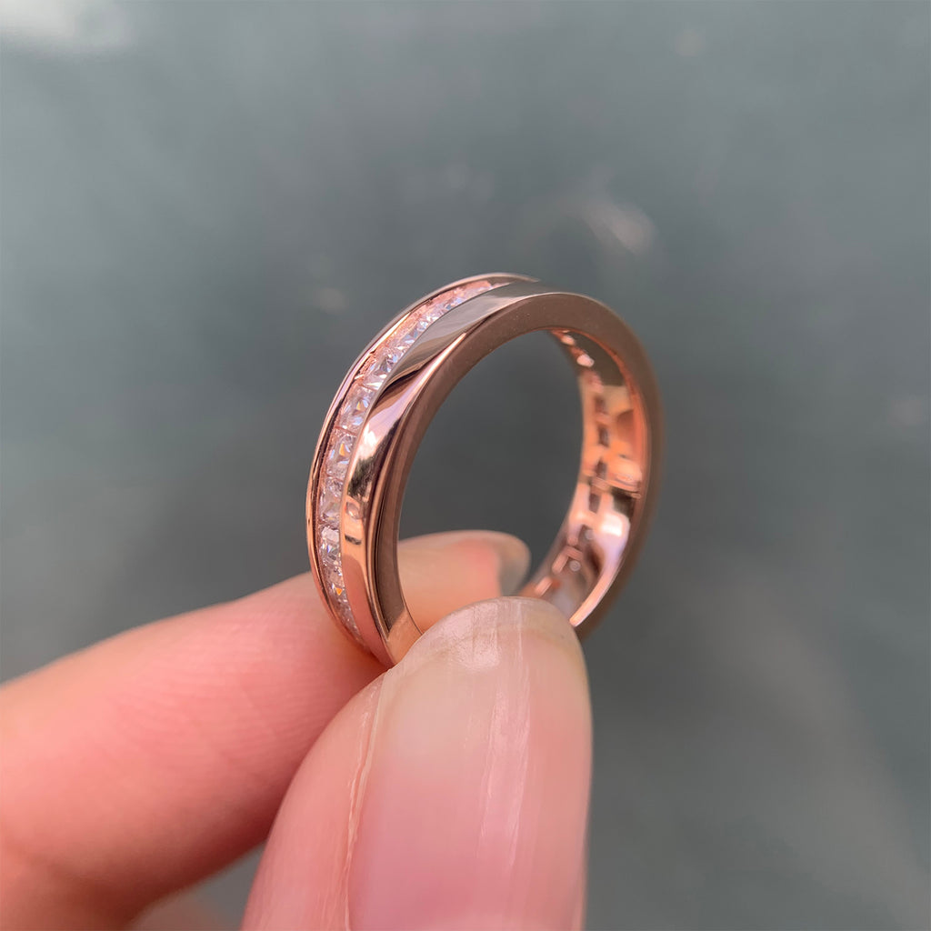 925 Sterling Silver Rose Gold Color Promise Wedding Ring