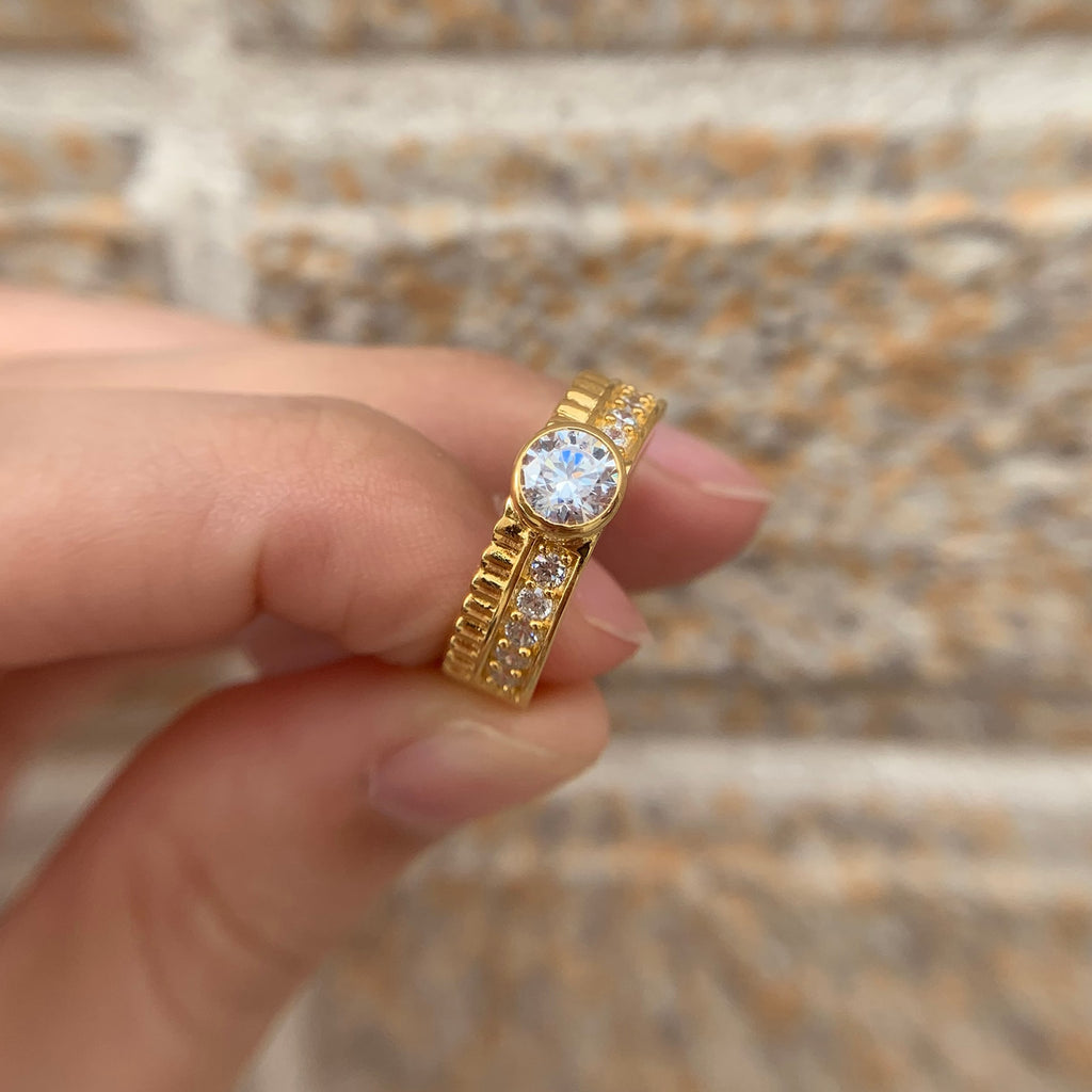 925 sterling Silver Yellow Gold Color Engagement Ring For Women