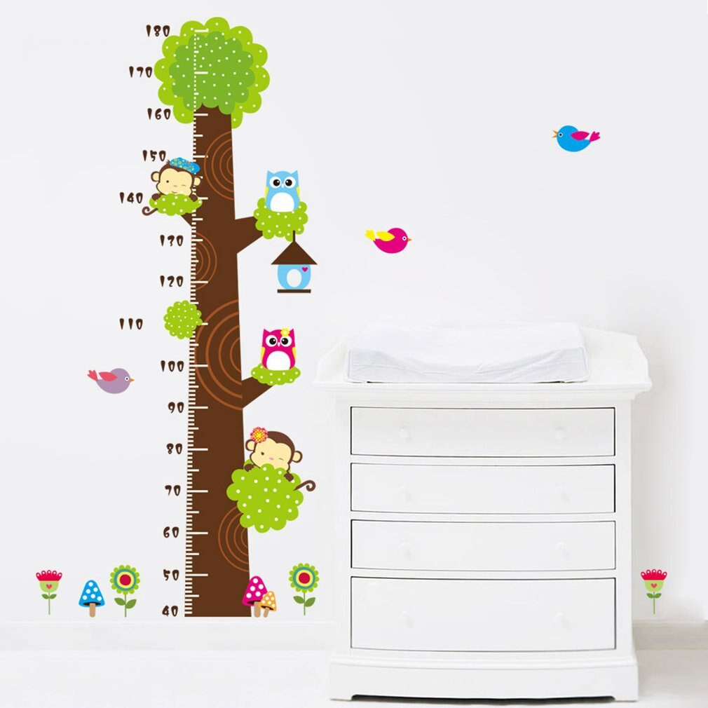 Cartoon Owl Monkey Height Measure Stickers For Kids