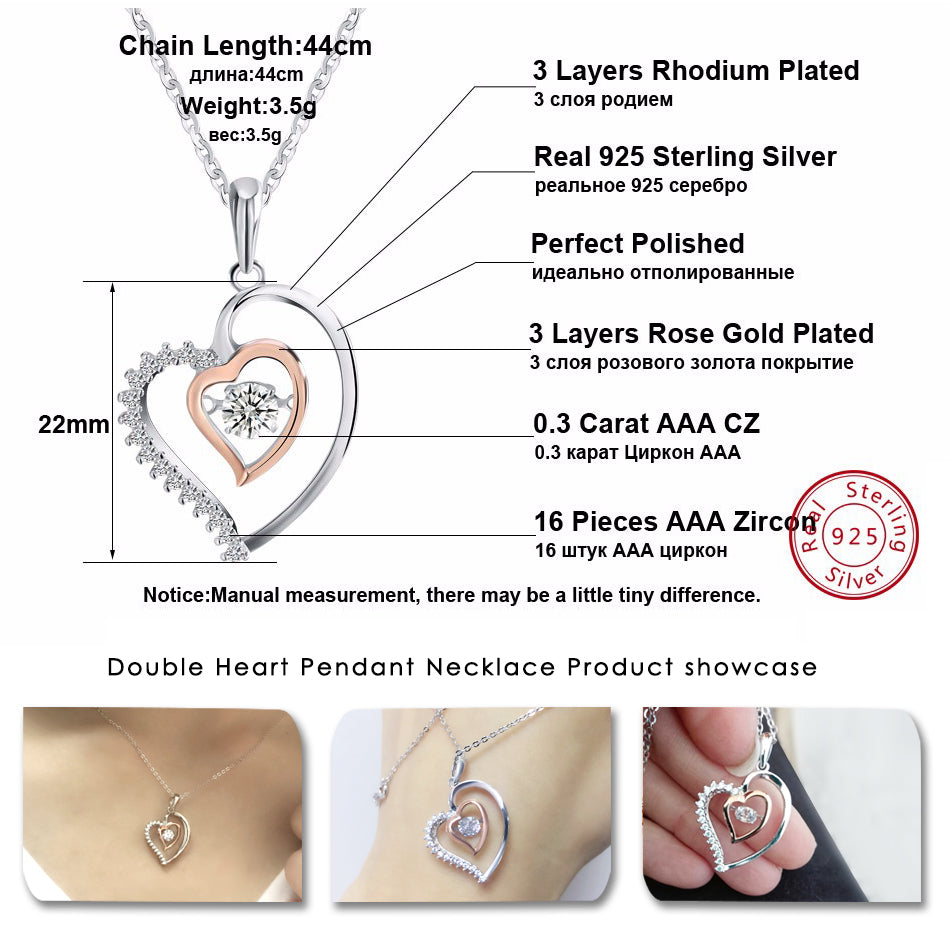 Genuine 925 Silver Double Heart Pendant Necklace with 0.3 ct Crystal
