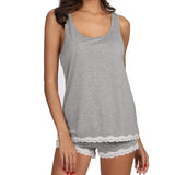 Women Striped Cotton Sleeveless Lace Sleepwear Set