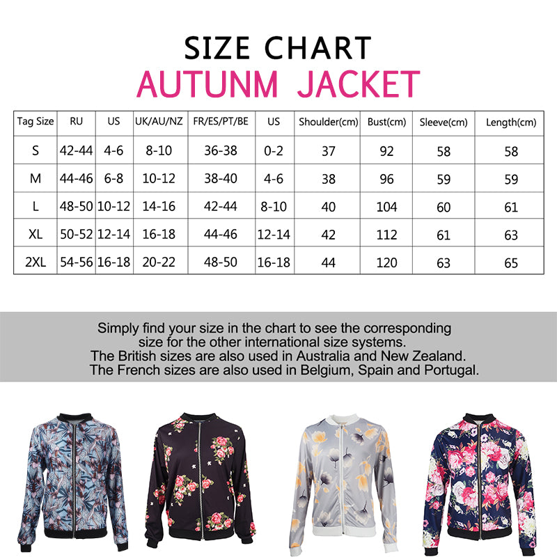 Retro Floral Printed Coat Short Bomber Women's Jacket