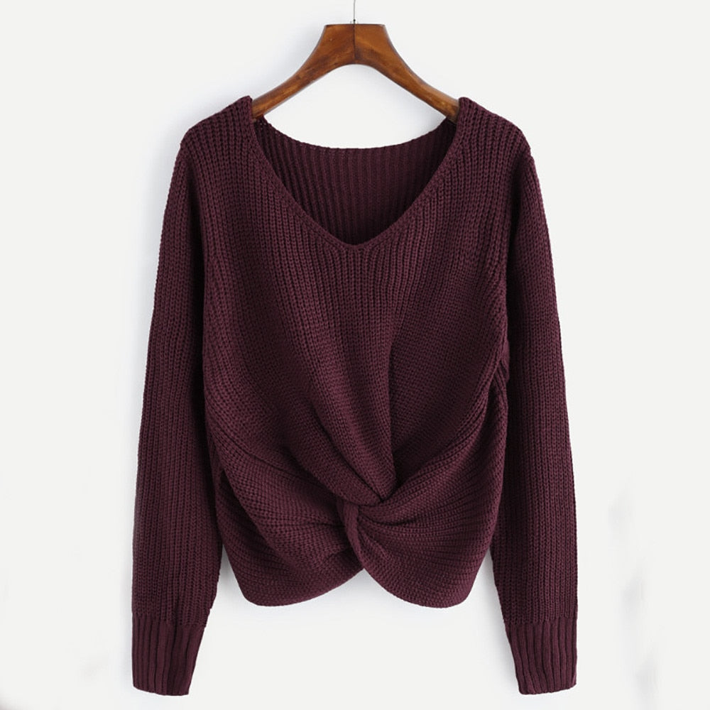 Long Sleeve V neck Cross Knotted Panel sweater