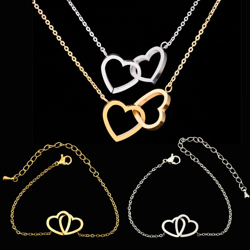 Romantic Forever Love Double Heart Stainless Steel Jewelry Set