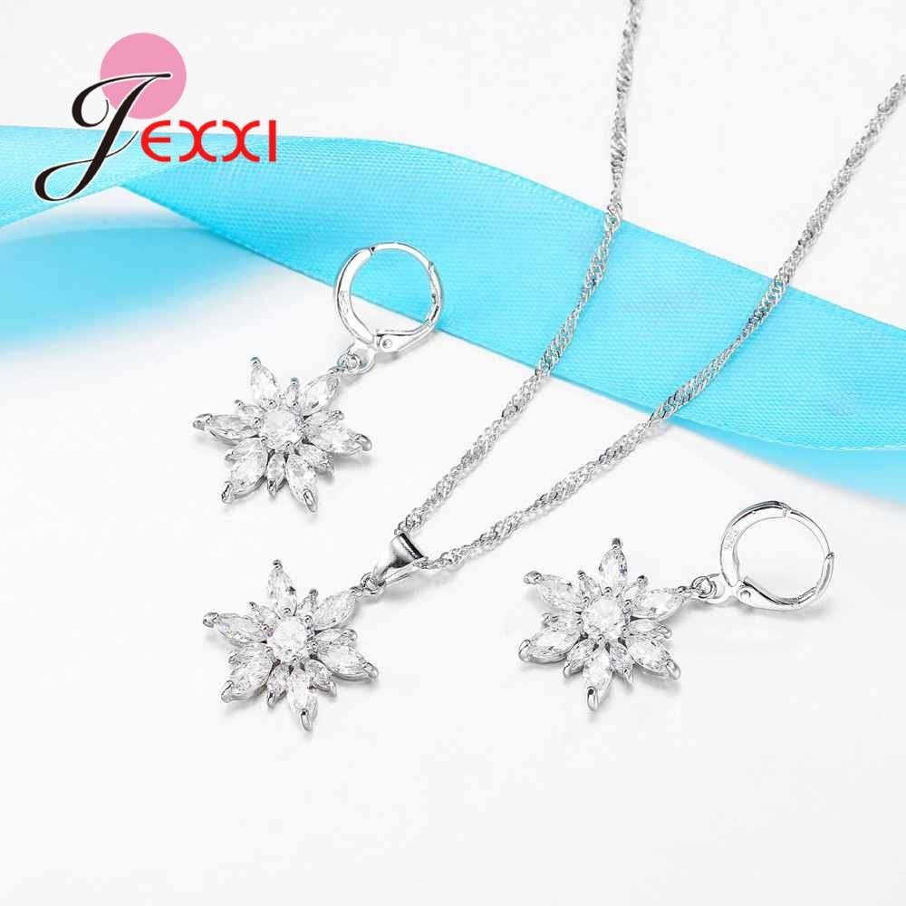 Rose 925 Sterling Silver Flower Plant Style Pendant/Earrings Sets Bijoux Hot Austrian Crystal Jewelry Set for Women