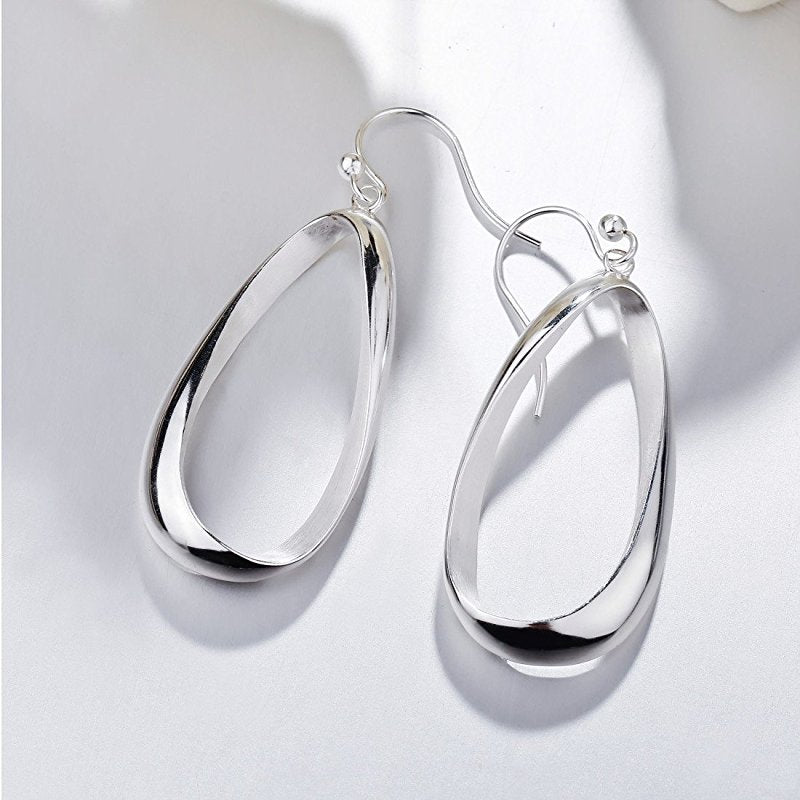 Real 925 Sterling Silver Twisted  Drop Earrings For Women