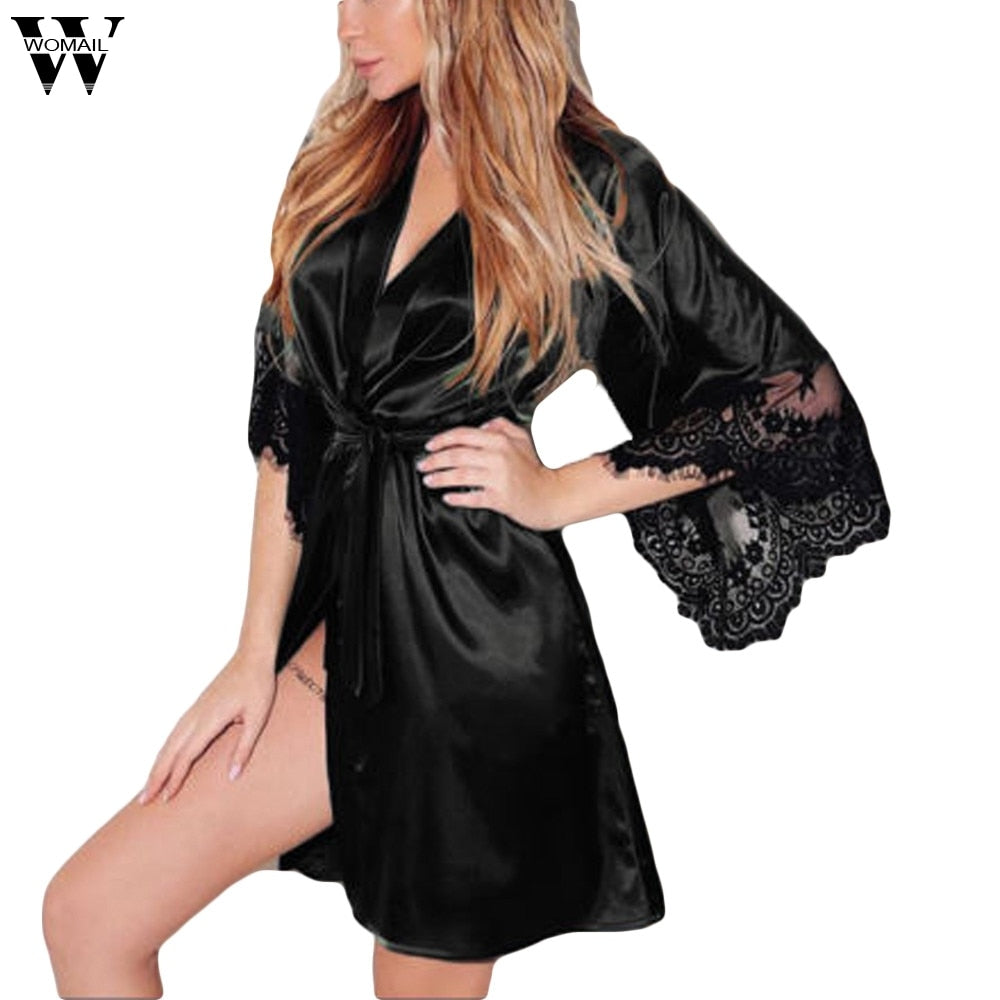 Lingerie Fashion Lace Patchwork Nightdress
