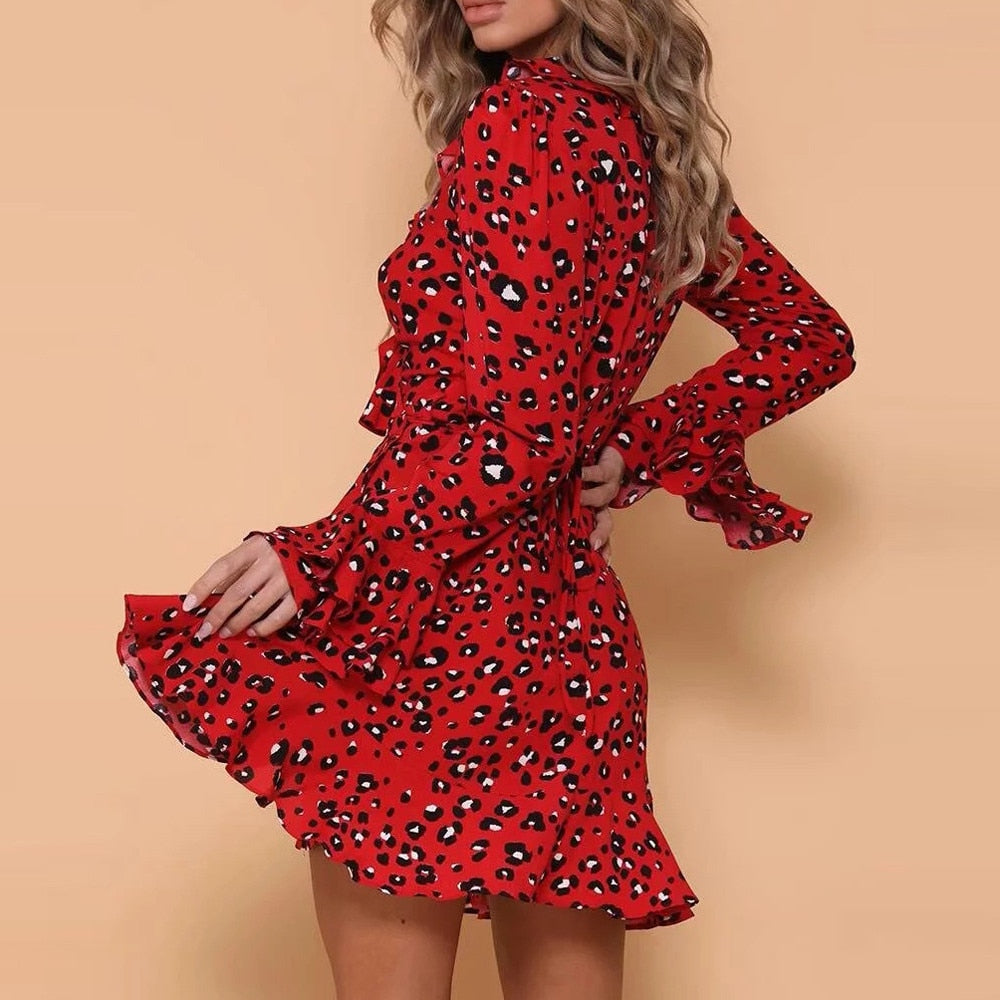 Long Sleeve Ruffled V Neck Leopard Dress