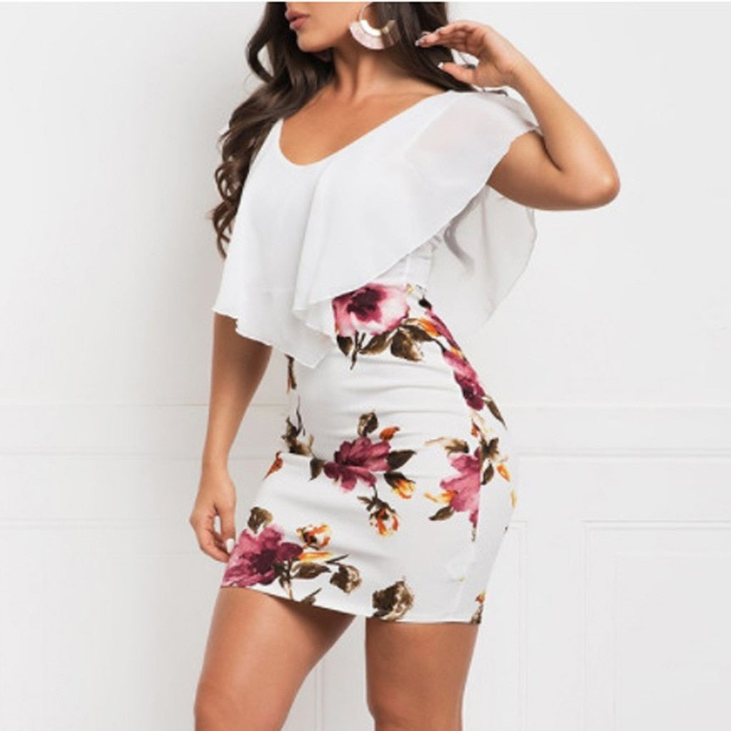 Sleeveless Floral Printed Bodycon Mini Dress
