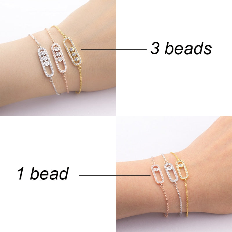 Charms 1& 3 Bead Geometric Gold Bracelets For Women