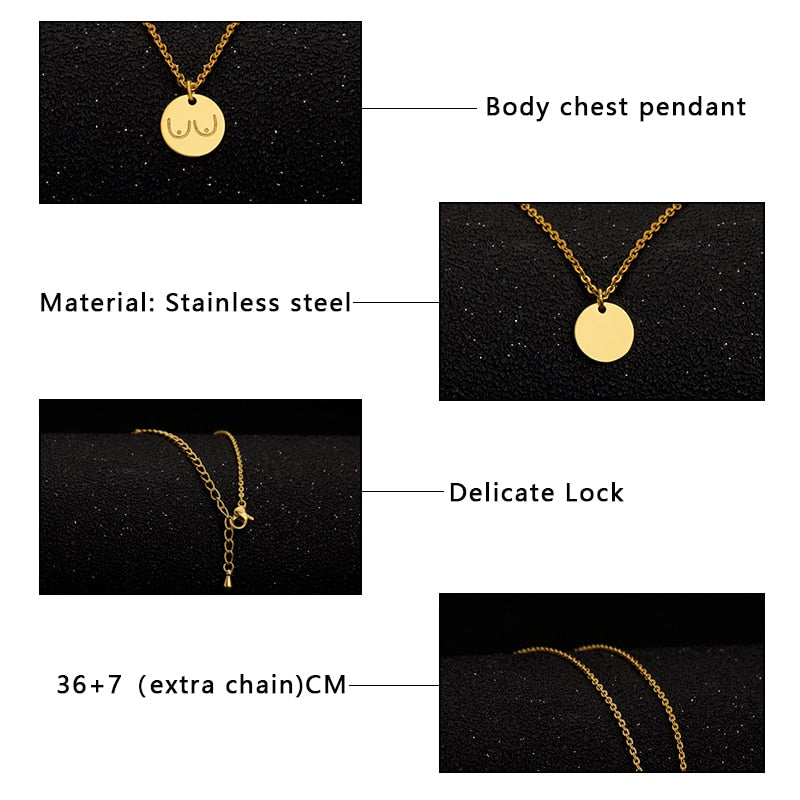 Stainless Steel Rose Gold Disc Charms Necklaces For Women
