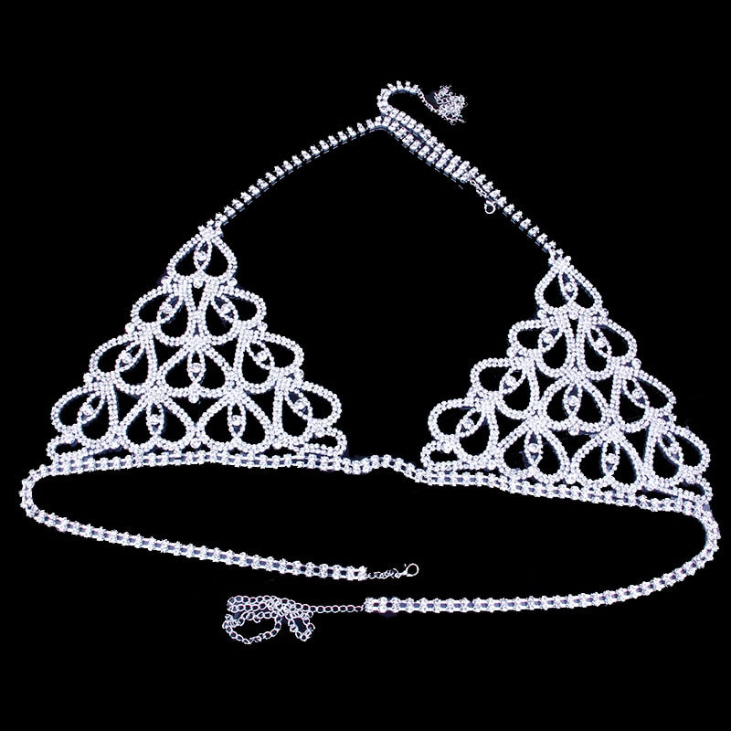 Charming Heart Rhinestone Body Jewelry Bra for Women
