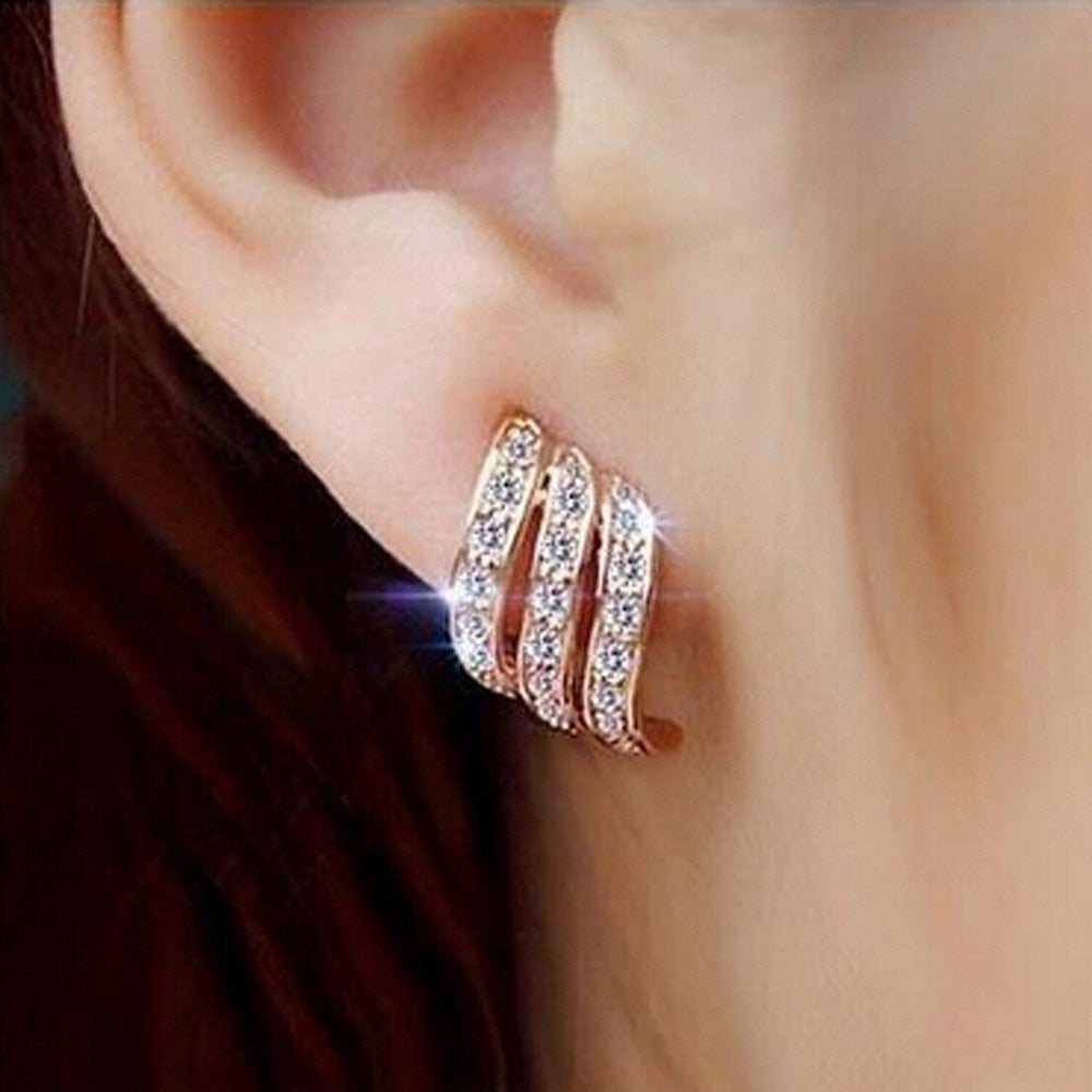 Women's Rose Gold Stud Studded Silver Plated Stud Boho Earrings