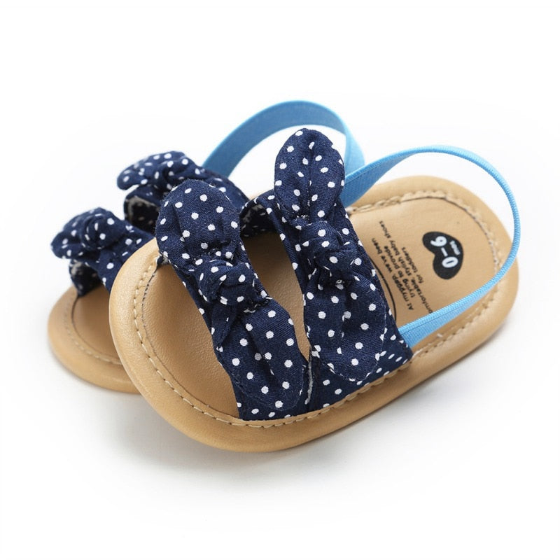 Newborn Dot Bow Princess Baby Girl Shoes Cotton Sandals