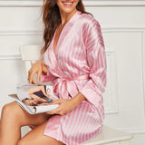 Summer Stripe Bride Wedding Robe Satin Sleepwear
