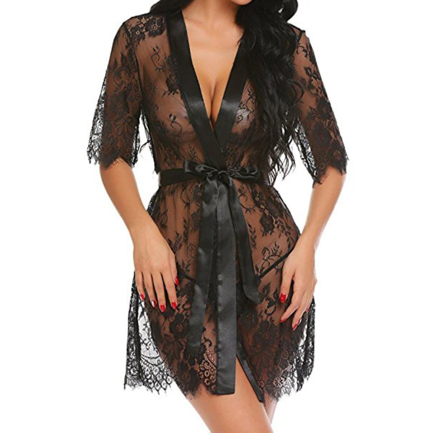 Summer Eyelash Lace Babydoll Sheer Solid Nightwear